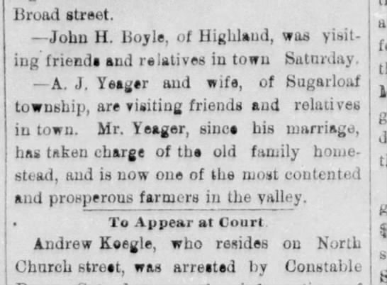 The Hazelton Sentinel (Hazleton, Pa) 11 Jun 1883, Mon pg 4. AJ Yeager of Sugarloaf
