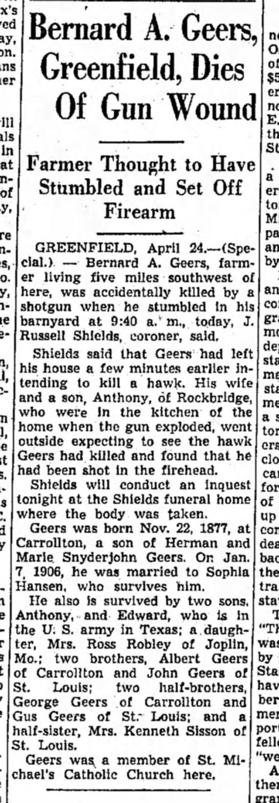 Mrs. Ross Robley's father dies-p.22-24 Apr 1941-Alton