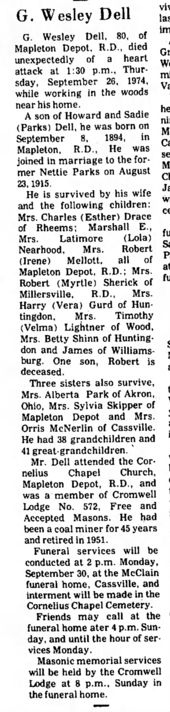 George Wesley Dell-obit-TDN-p.2-27 Sep 1974