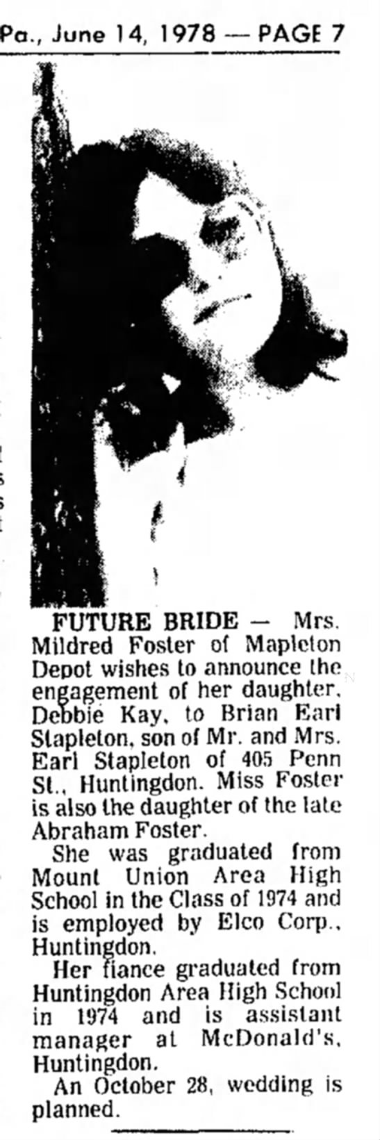 Debbie Kay Foster engagement-TDN-p.7-14 Jun 1978