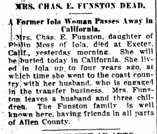 Mrs Charles Funston (nee Moss) Dead - The Iola Register 13 Aug 1914 Page 1