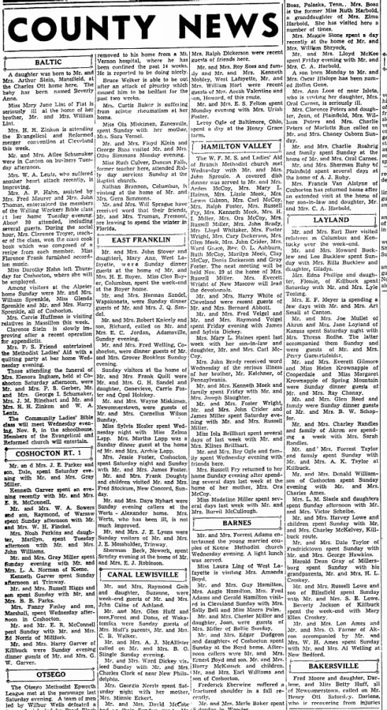 Small-town news around the county. 1939 Ohio.