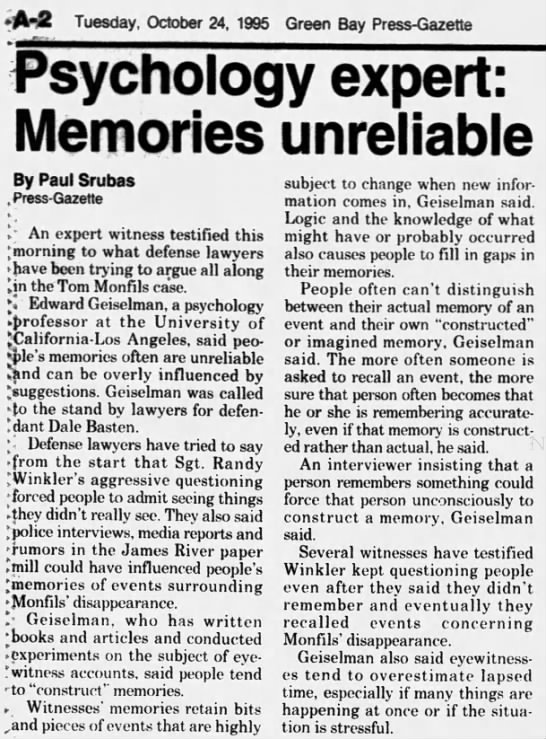 Oct 24, 1995, Monfils Homicide: Psychology expert, memories are unreliable