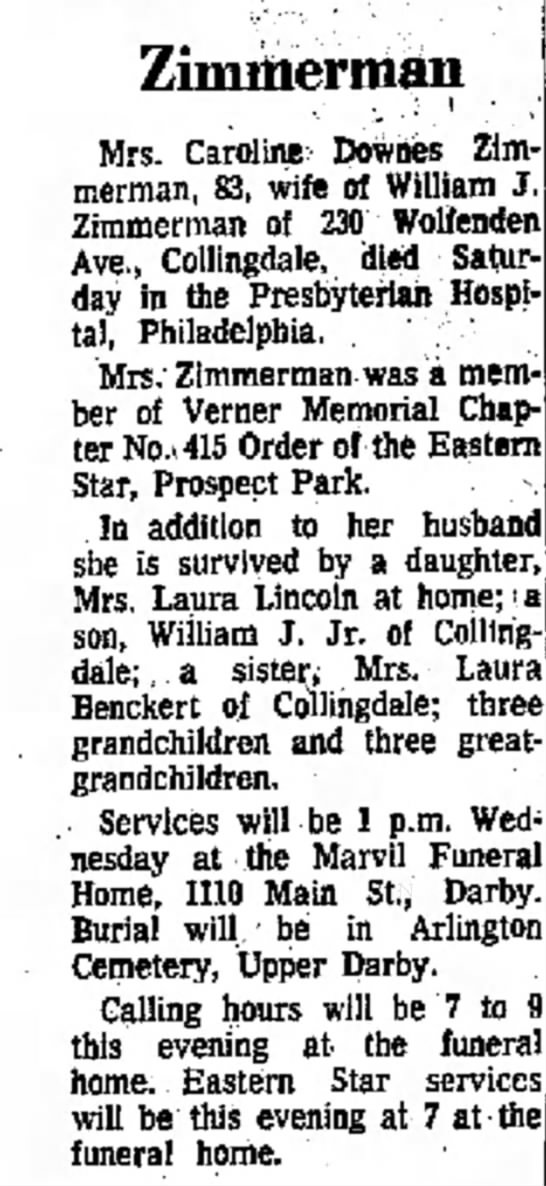 laura zimmerman benckert death notice of mother
