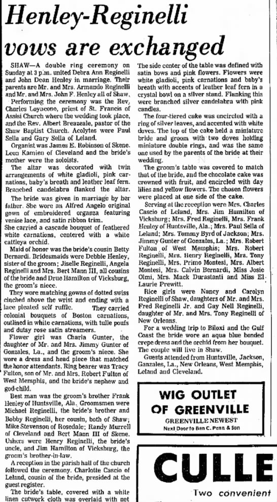 Henley-Shaw recently Wed 3 June 1971, The Delta Democrat-Times, Greenville, MS