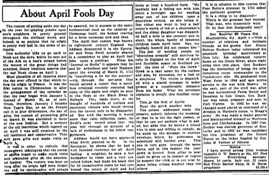 About April Fools Day in Texas