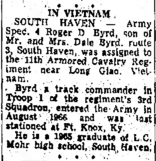 Roger D Byrd assigned to 11th Armored Cavalry Regiment near Long Giao. Vietnam.