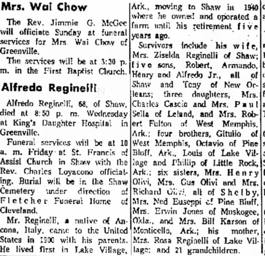 Alfredo Reginelli Obituary May 1967 The Delta Democrat-Times, Greenville, MS