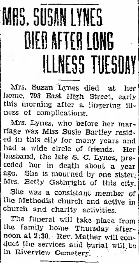 Susan (Bartley) Lynes newspaper obituary