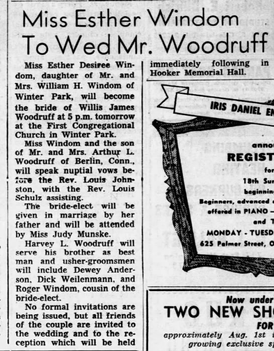 Esther Windom's wedding announcement.