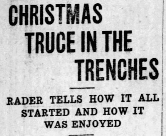 Christmas truce in the trenches