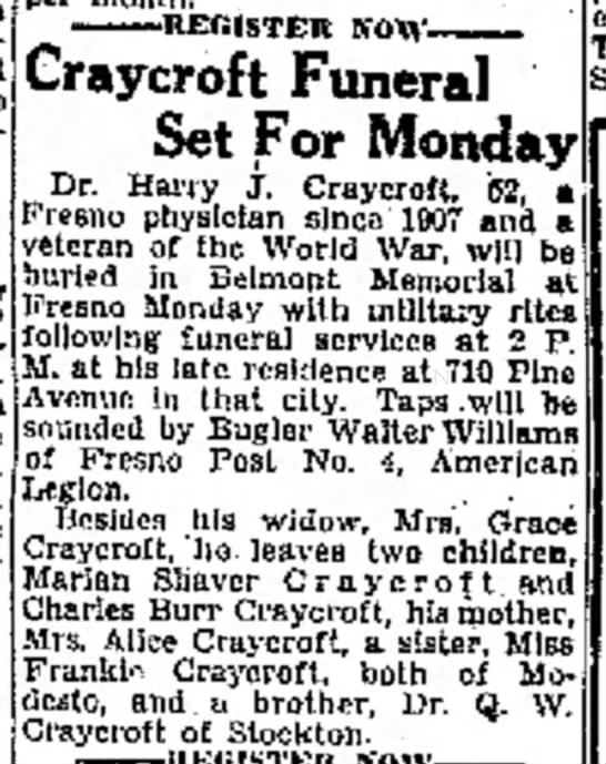 Dr Harry Judge Craycroft 19 Mar 1932 Modesto Bee