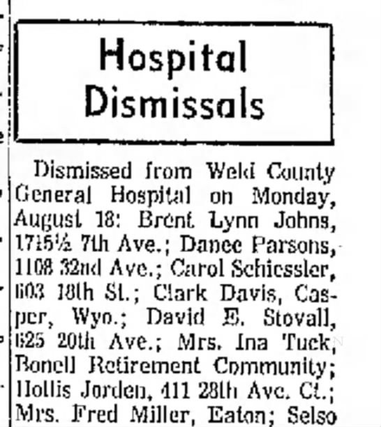 John A Rowe 1315 23rd Ave - Greeley Daily Tribune, 19 Aug 1969, p21
