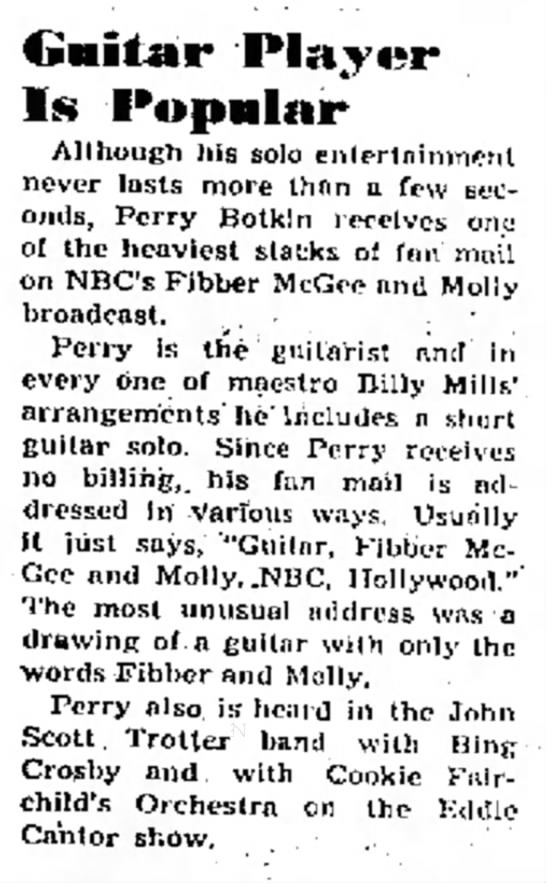 Perry Botkin - Fibber McGee and Molly fan mail 1943