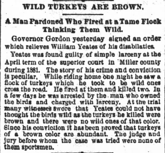 William Yeates pardoned for killing turkeys