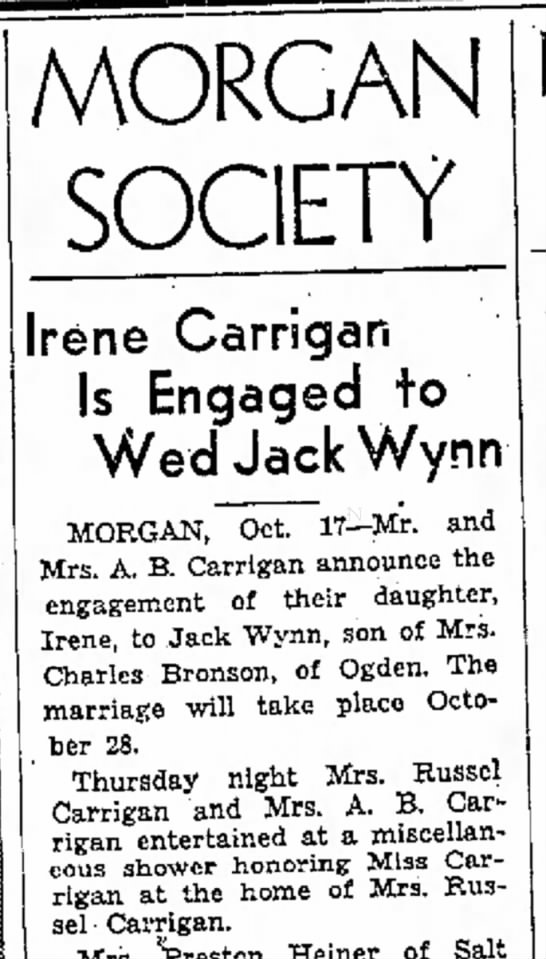 1936 Pauline Carrigan's engagement announcement