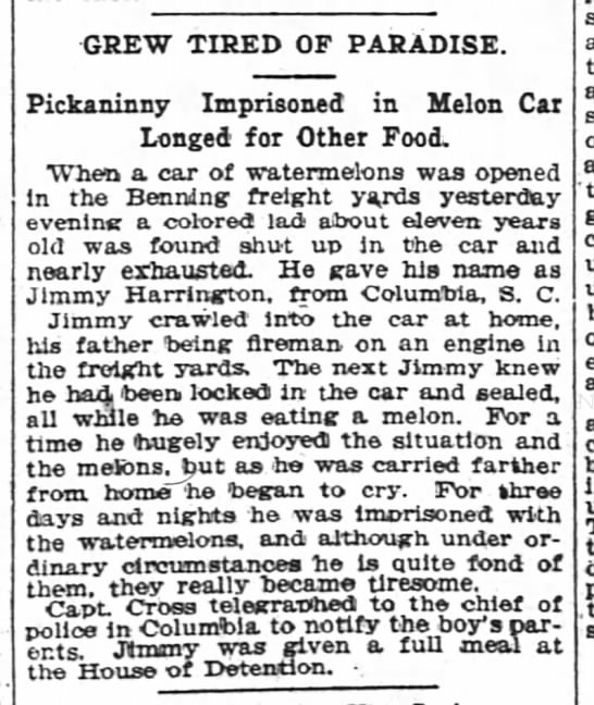 "Boy Trapped ""in Melon Car Longed for Other Food"""