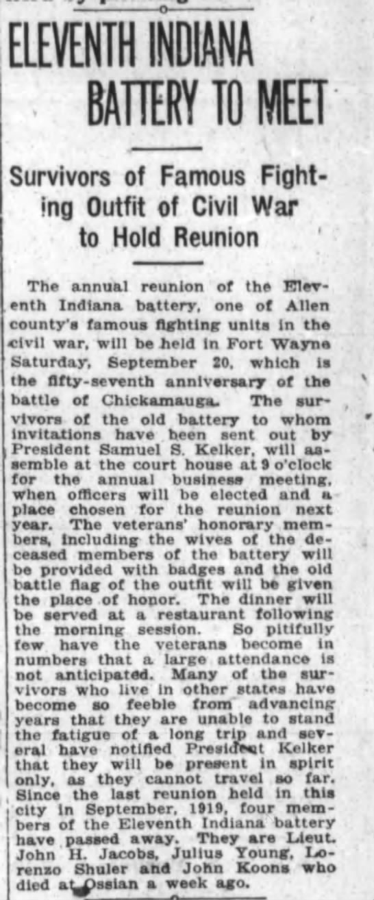 1920 Sep 11 Eleventh Indiana Battery of Civil War hold reunion