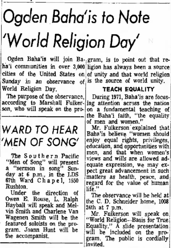 Baha'i observe World Religion Day with talk by Marshall Fulkerson at home of C. D. Schneider