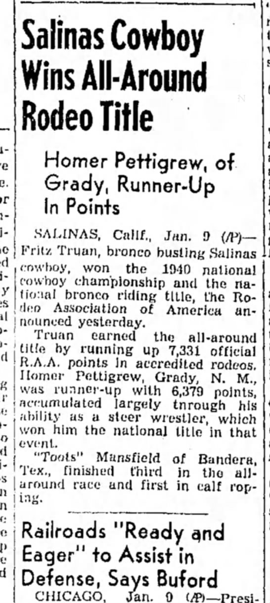 Fritz Truan, Salinas, California, wins 1940 All-Around  Rodeo Title