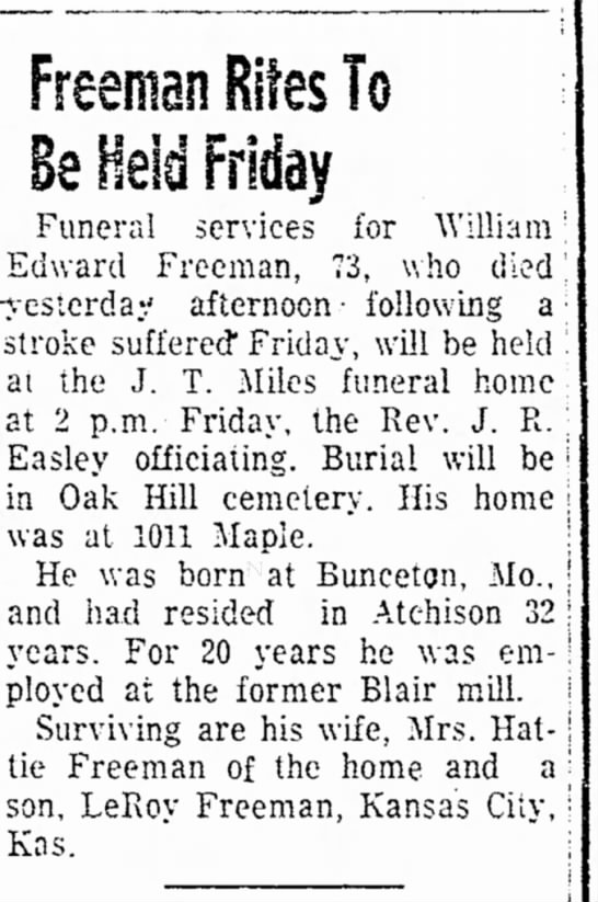 William Edward Freeman Obituary - The Atchison Daily Globe 18 June 1957 Page 2