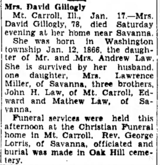 Mrs. David Gillogly obit