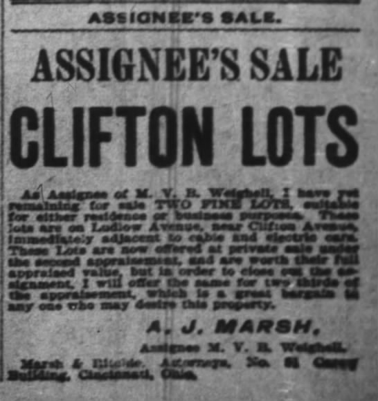 A.J. Marsh offers lots for sale in Clifton