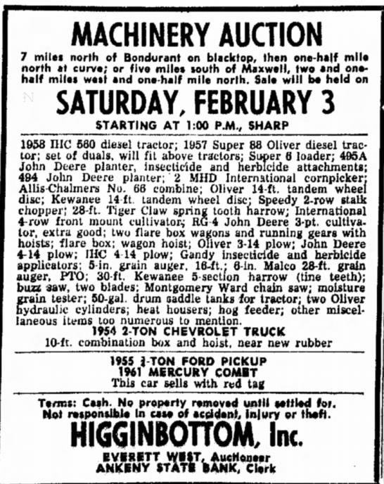 Higginbottom Auction 3 Feb 1973