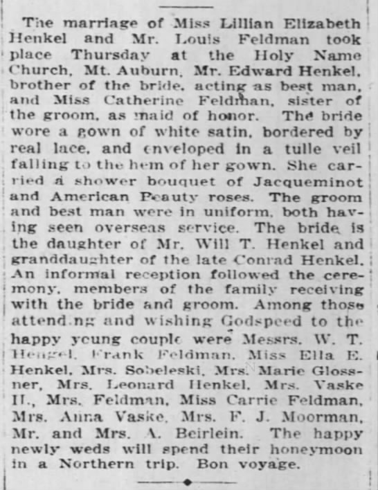 Louis Feldman Wedding 22 Jun 1919