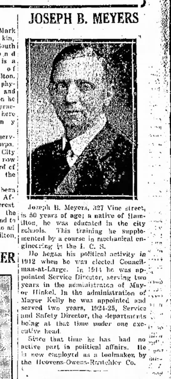 Joseph B. Meyers elected (1927)