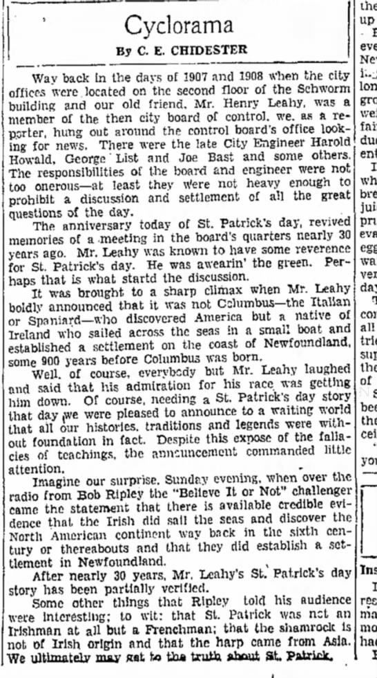 Story in the local paper about my great-grandfather, Henry Leahy, the ultimate Irishman- 17 Mar 1936
