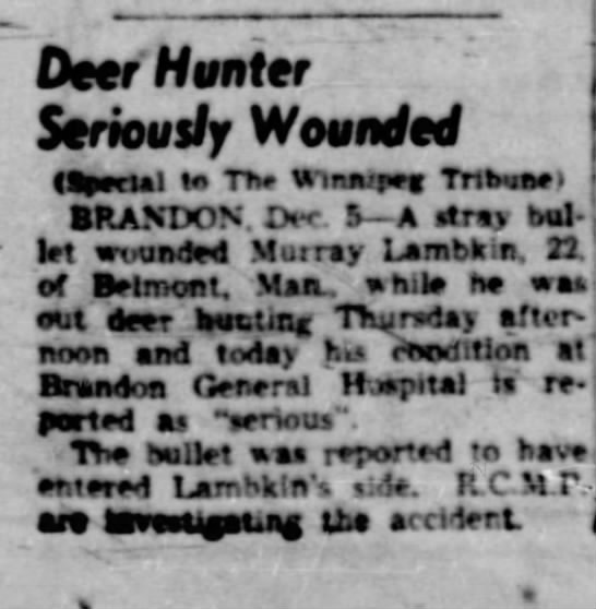 Murray A Lambkin Wounded The Winnipeg Tribune, Winnipeg, MB; 5 Dec 1947, Friday, page 21