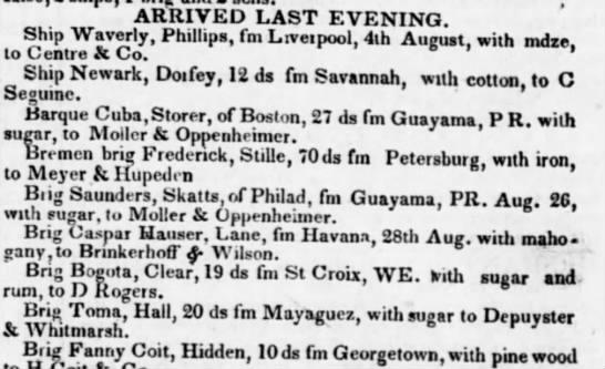 Guayama trade Sept 1836