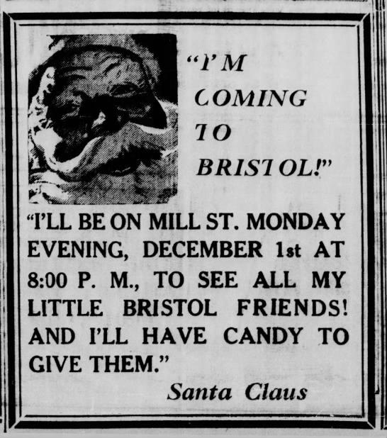 Santa on Mill Street 11.22.1941 Bristol Daily Courier