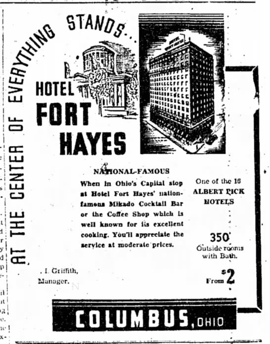 1939 Hotel Fort Hayes Ad