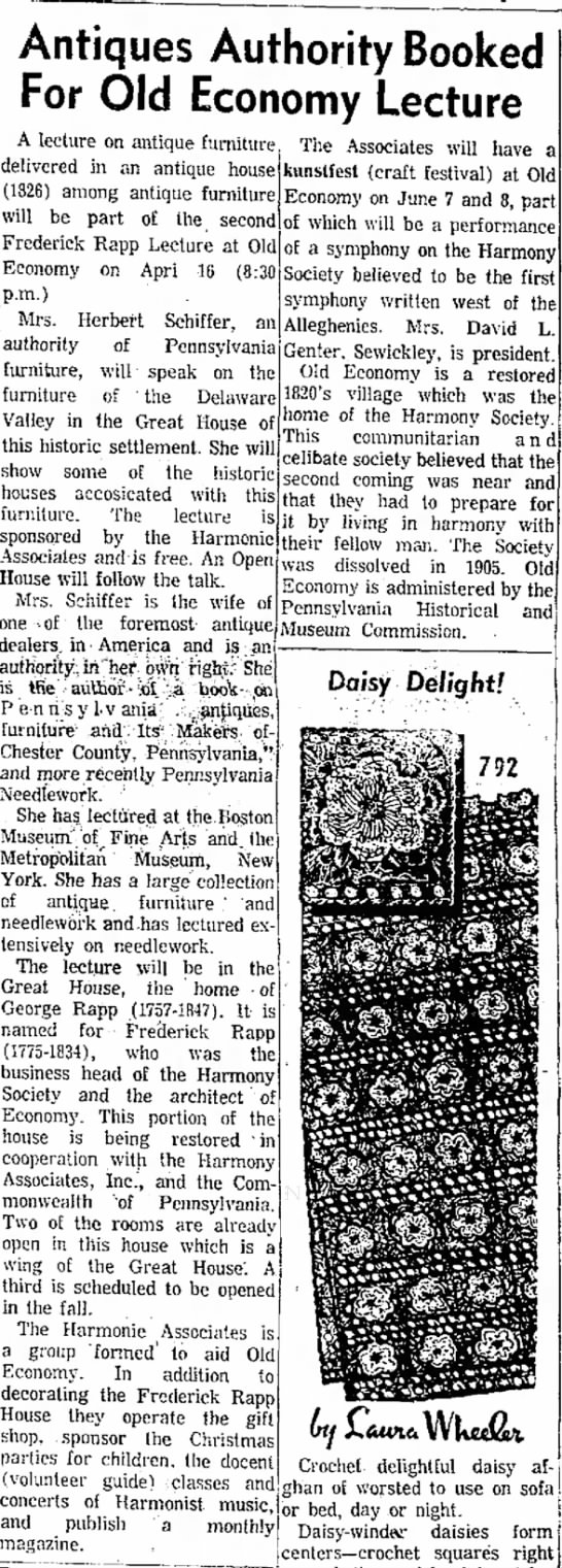 Mrs Herbert Schiffer furniture antique authority10 Apr 1969