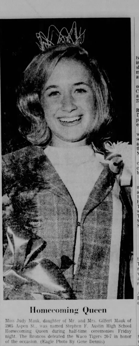 SFA Homecoming Queen 29 Oct 1967 Judy Mauk