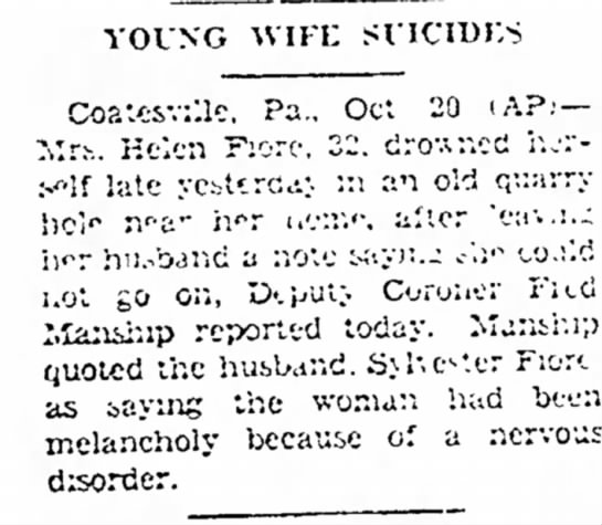 "Callery, Helen ""Ellie"" Bowe Fiore. The Gettysburg Times, Gettysburg, PA. 20 October 1942. Page 4."