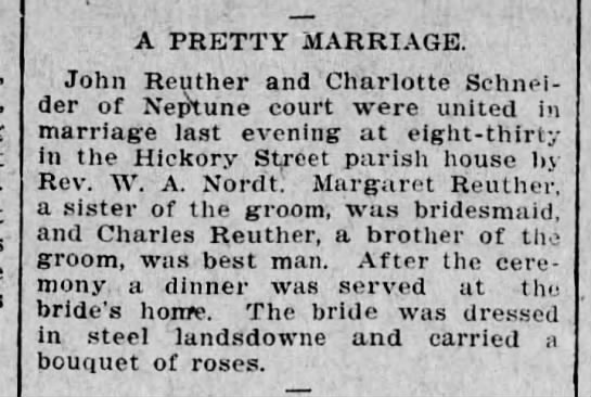 5-20-1904 reuther scnider wedding