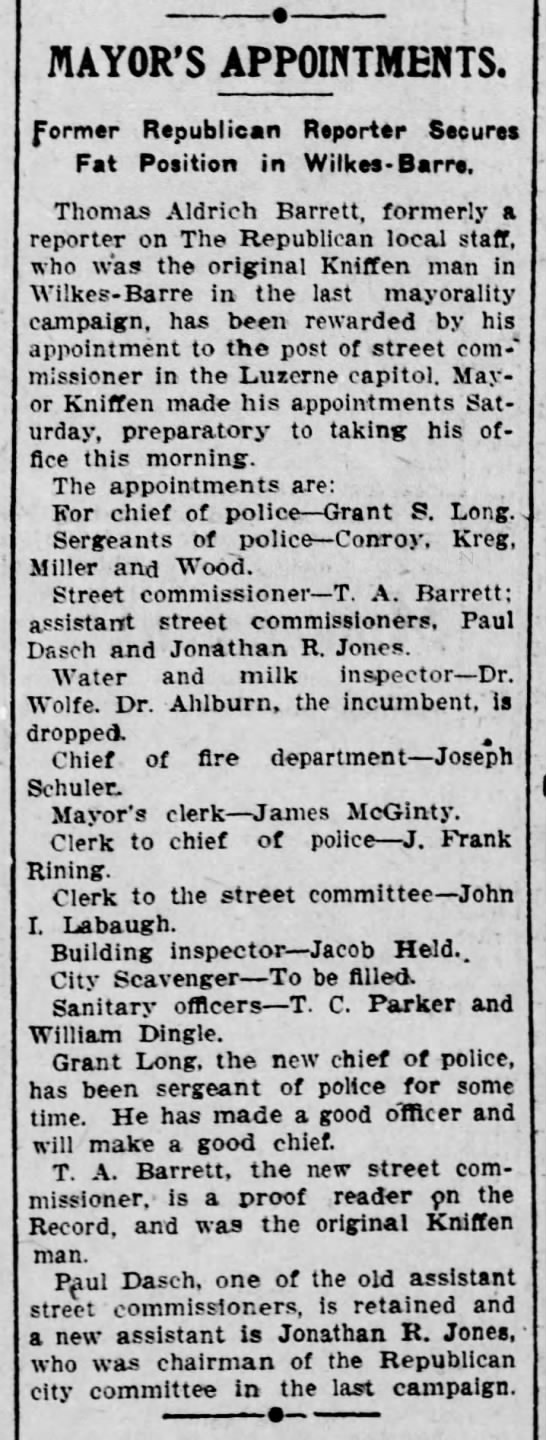 The Scranton Republican 8 April 1908 TA Barrett as mayoral appointee