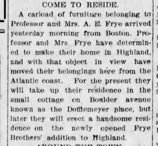 Frye Addition  Prof coming to reside 1905