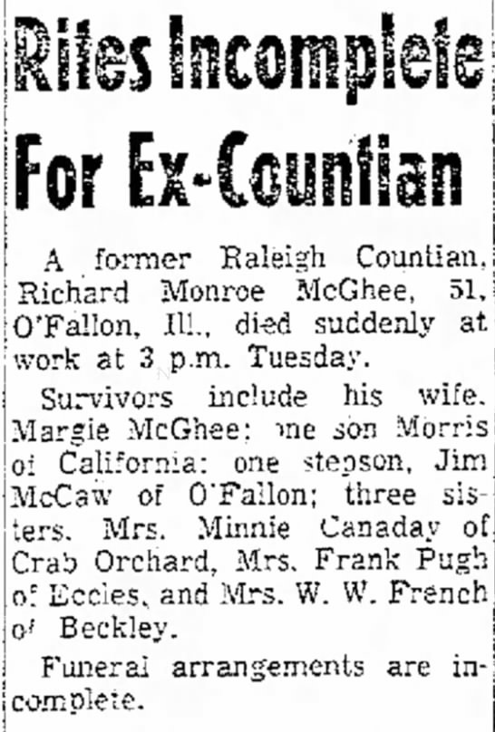 McGhee, Richard, Obituary