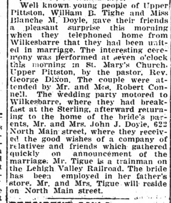 William Tighe - Blanche Doyle Married