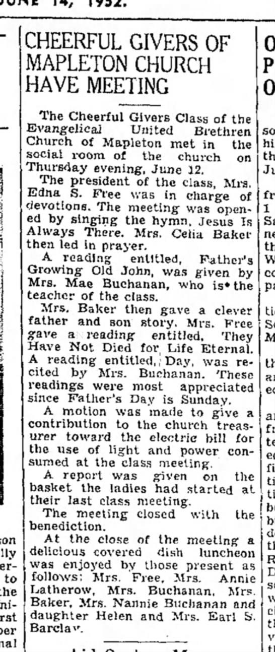 May Robley Buchanan gives reading-TDN-p.5-14 June 1952