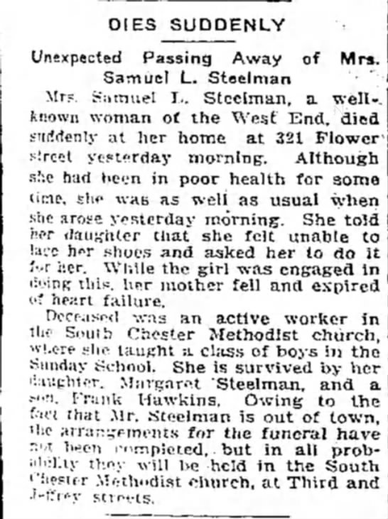 Emma V. Steelman death 30 January 1914