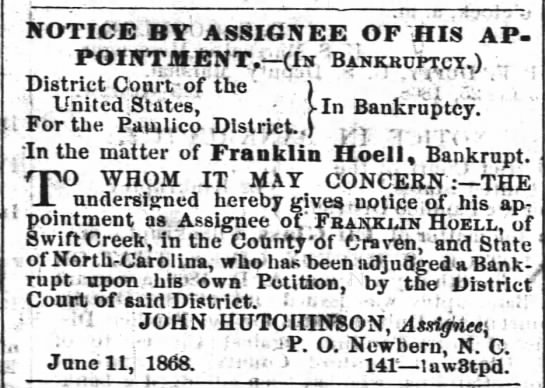 Franklin Hoell Bankruptcy Notice 1868