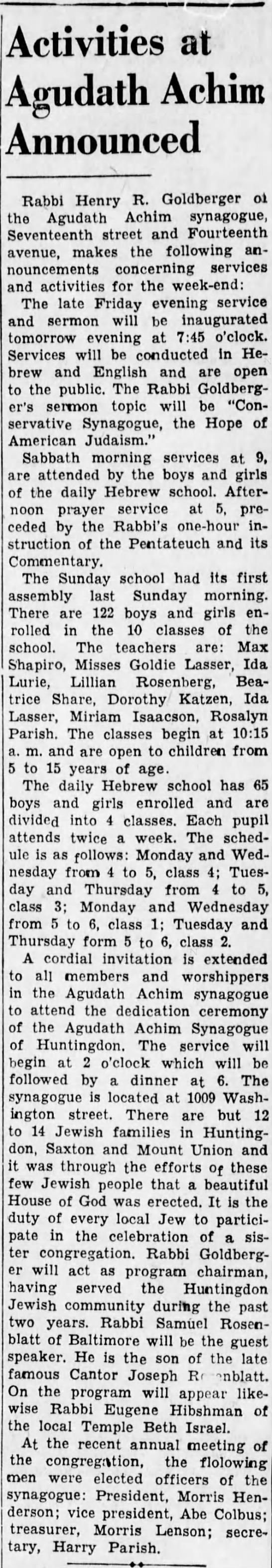 Morris elected secretary of Agudath Achim synagogue- 15 October 1936