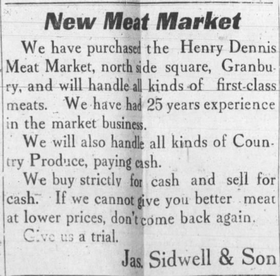 1920 new meat mkt ad