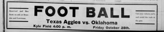 1921- Texas A&M vs Oklahoma A&M (football) advertisement