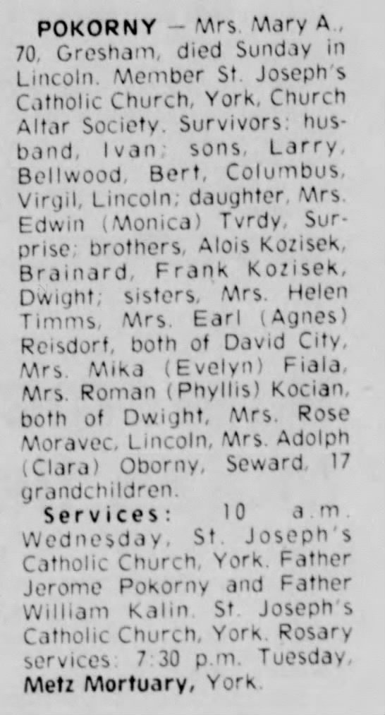 Phyllis Kocian in Mary Pokorny Funeral Notice from Lincoln Star - 30 Nov 1976